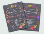Chalkboard Bridal Shower Invites in Bright and Pastel