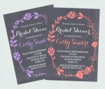 Rustic Floral Chalkboard Bridal Shower Invite