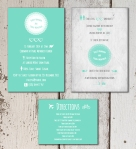 Green modern retro wedding invitation