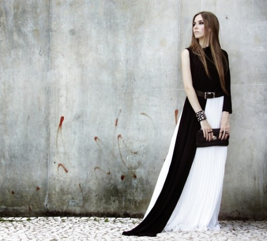 Lookbook elegant black and white dress