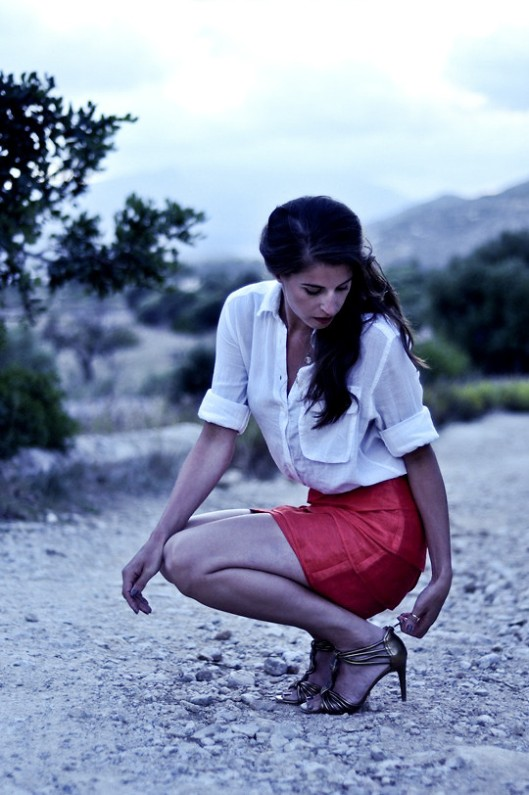 Lookbook classic shirt red skirt