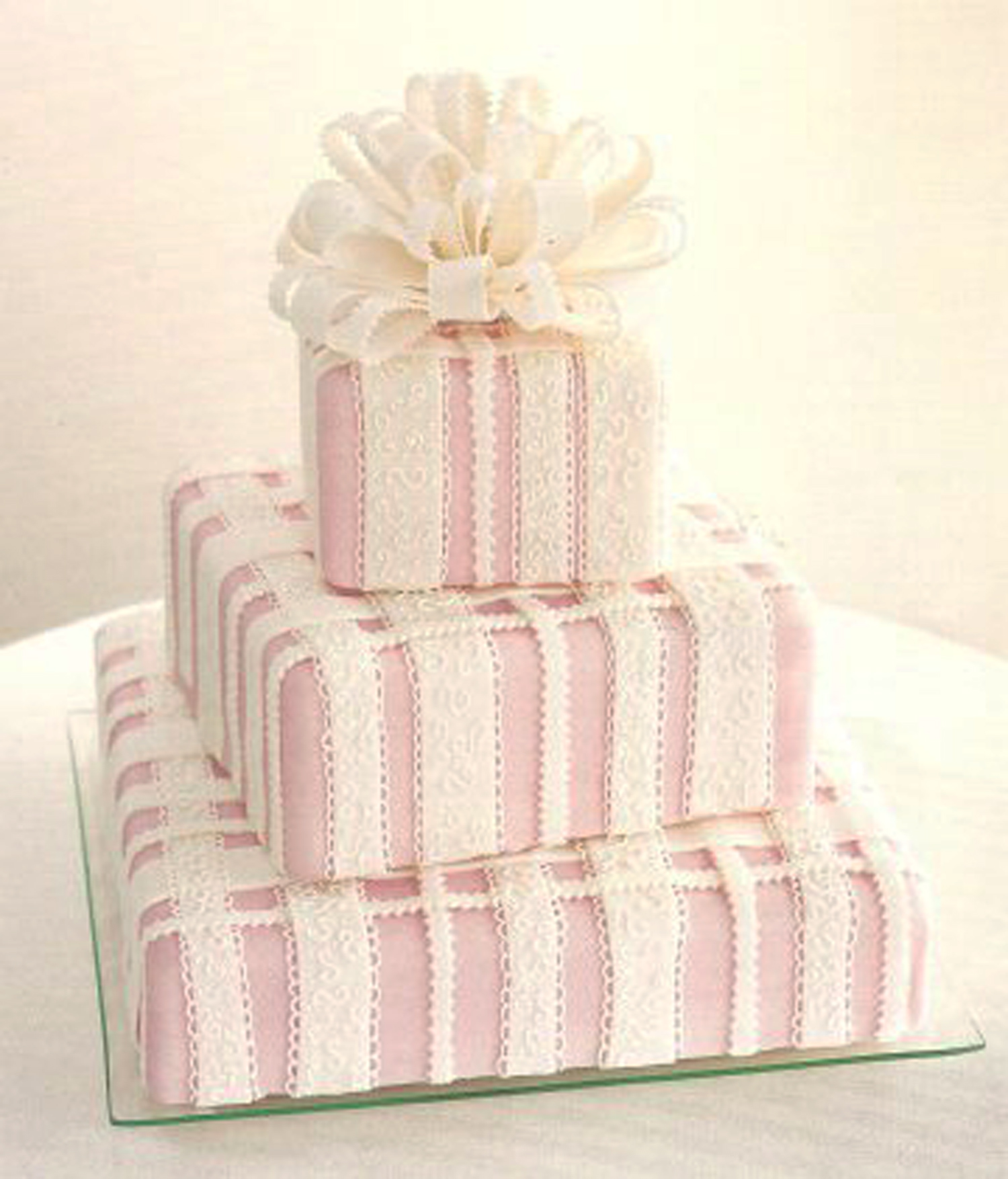 Square Wedding Cakes With Lace Viewing Gallery