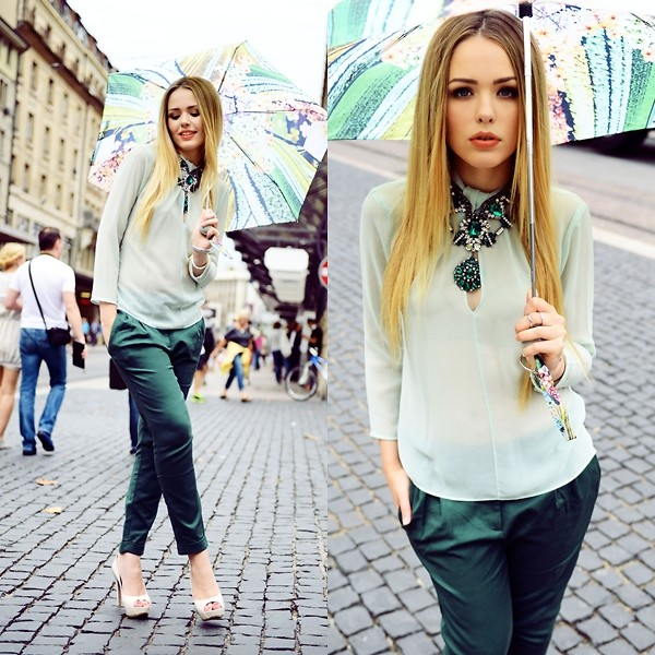 Green pants and shirt_fashion