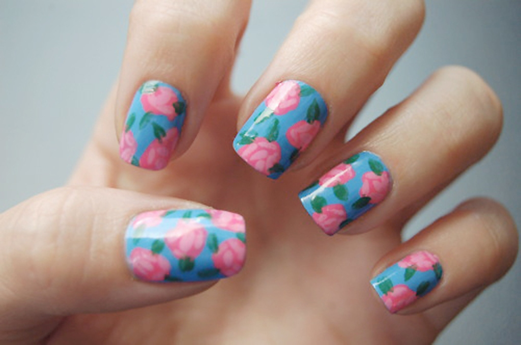 Blue & Pink Floral Nail Art