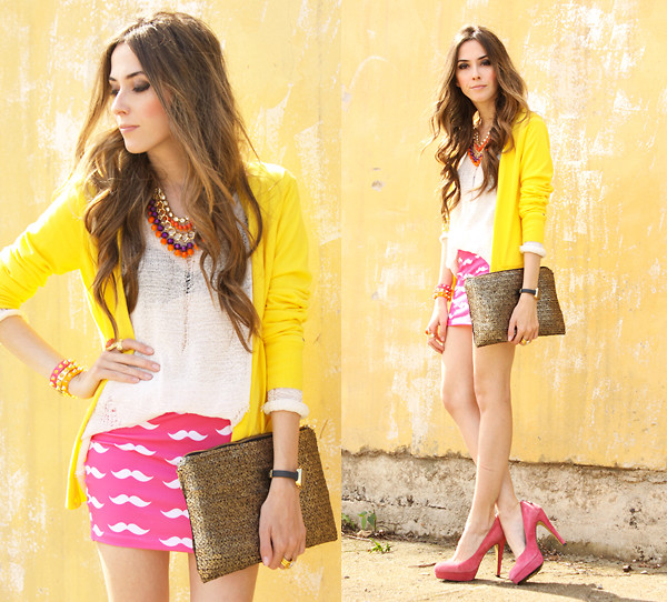 Yellow jersey with pink moustache skirt_fashion