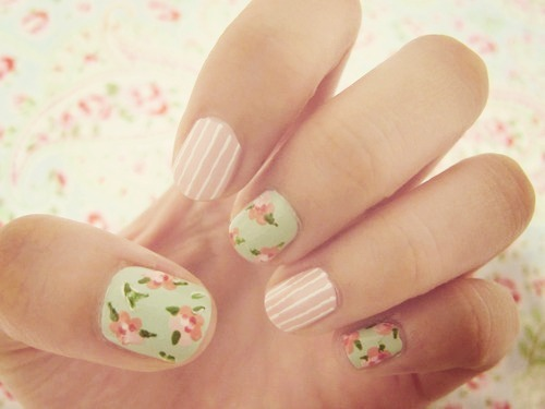 Floral and Stripes Nail Art