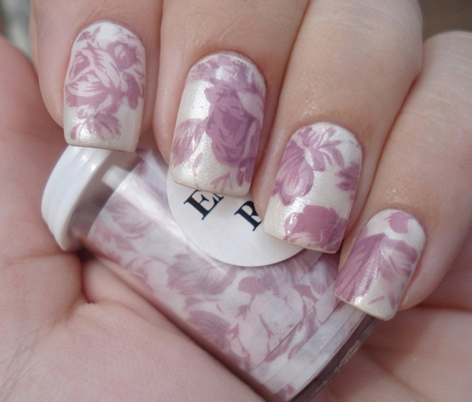 Purple Floral Nails