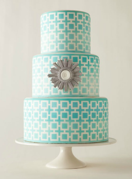 Aqua and grey wedding cake