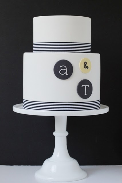 Black and white modern typography wedding cake