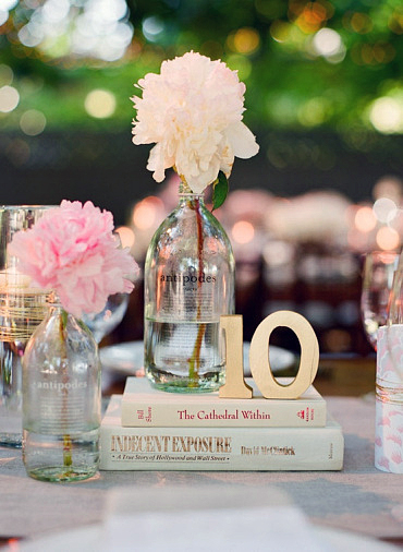 Centerpiece book pastel shades wedding