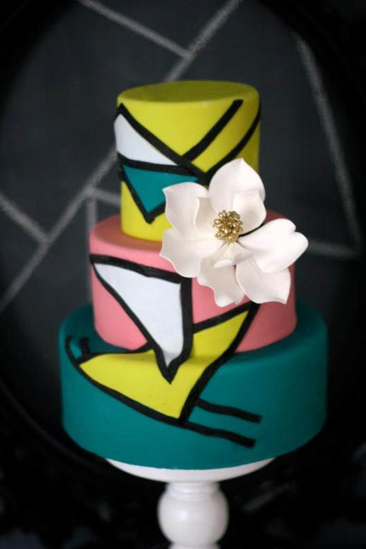Colourful abstract wedding cake art