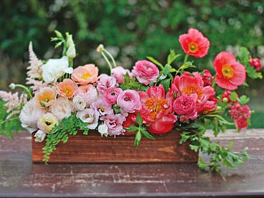 Colourful flower centerpiece wood