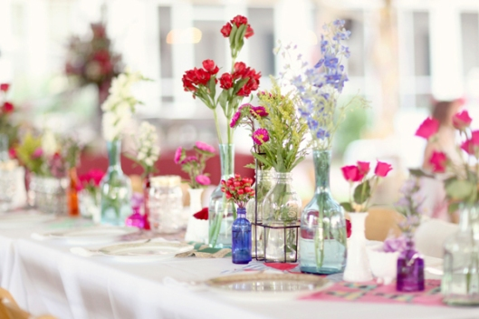Colourful flowers and jar centerpiece
