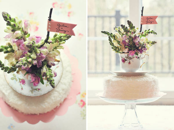 DIY vintage teacup cake topper