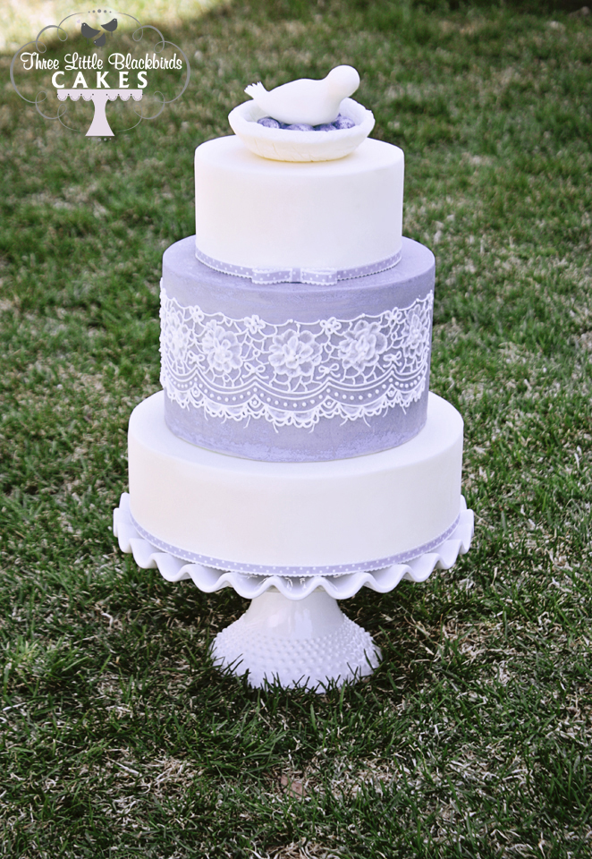 Lavendar lace wedding cake
