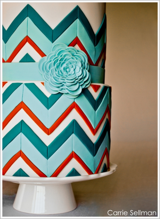 Modern colourful abstract wedding cake