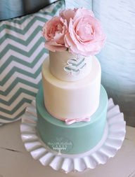 Pastel pink and blue wedding cake