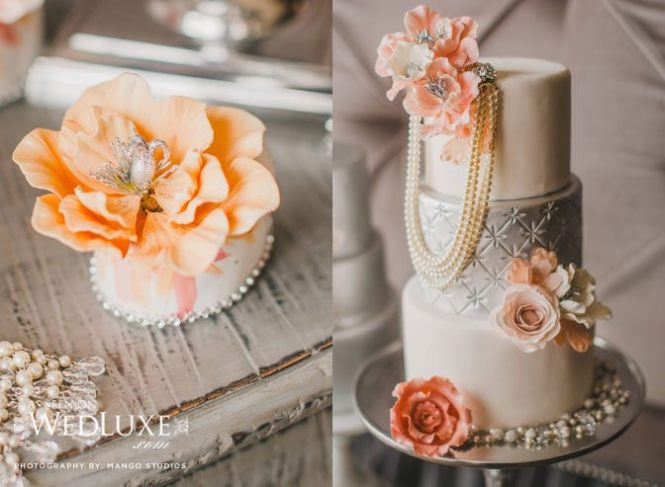 Pearl orange and silver wedding cake