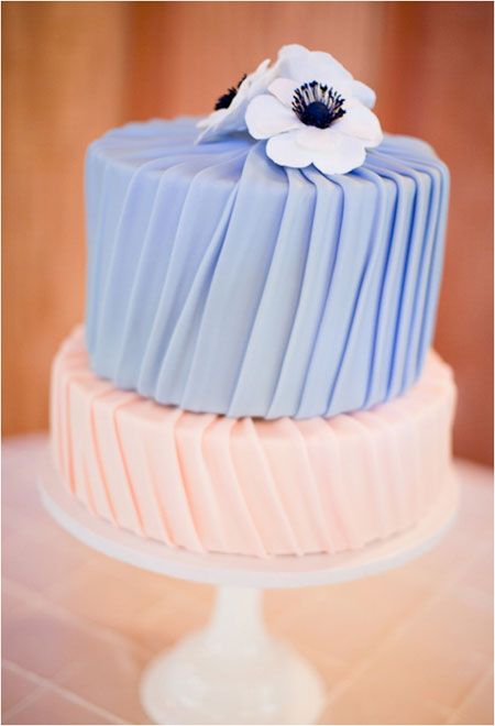 pleated blue and coral wedding cake