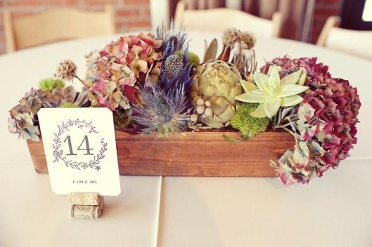 Rustic flower wood centerpiece