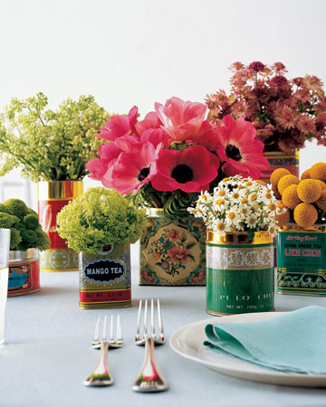 Rustic vintage colourful tin centerpiece