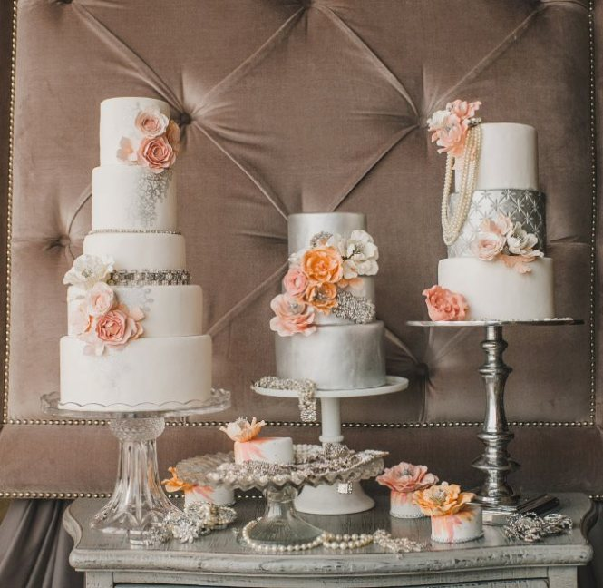 Stunning orange and silver wedding cake