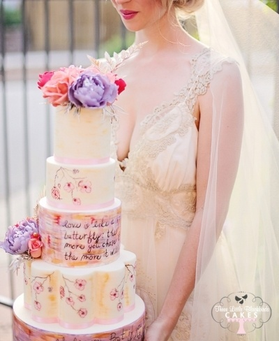 Vintage colour wedding cake