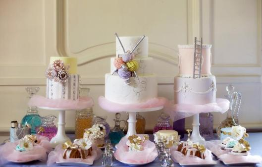 Whimsical trio of cakes