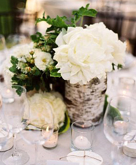 White flower wood rustic centerpiece