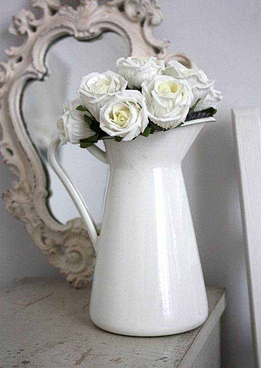 White jug centerpiece vintage