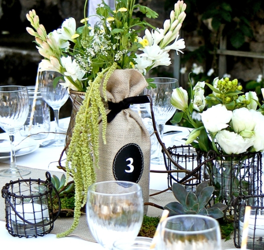 Wine bottle centerpiece rustic