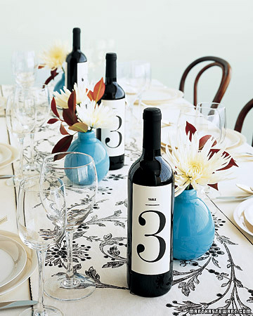 Wine bottle centerpiece table number