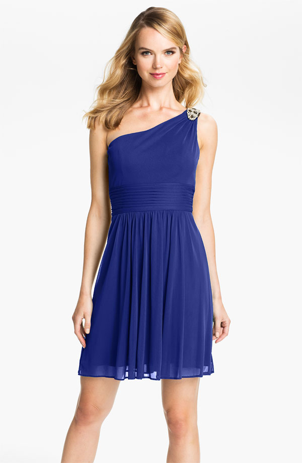 Blue bridesamaid dress one shoulder