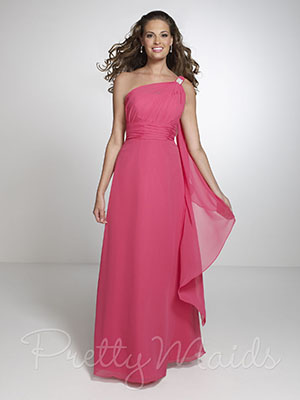 Full length pink bridesmaid dress