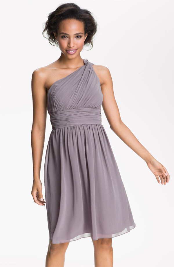 One shoulder grey bridesmaid dress