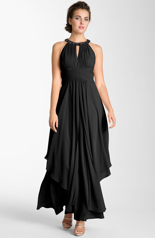 Black full length bridesmaid dress