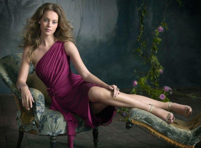 Full length deep purple bridesmaid dress