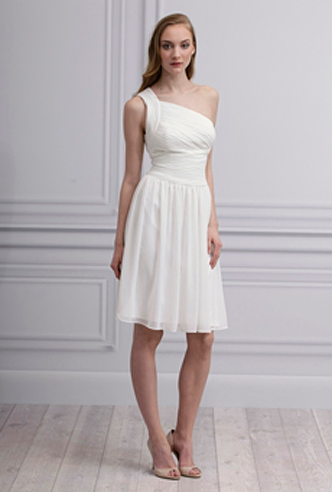 One shoulder white bridesmaid dress