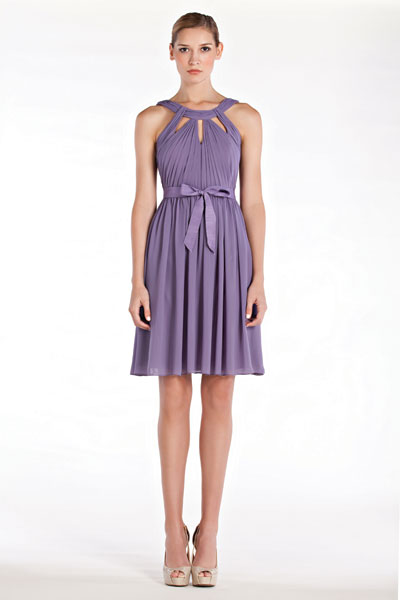 Purple bridesmaid short dress