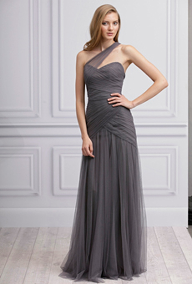 Long grey elegant bridesmaid dress