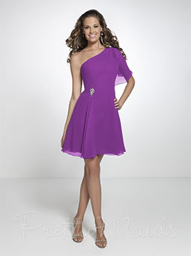 One shoulder bridesmaid dress in purple