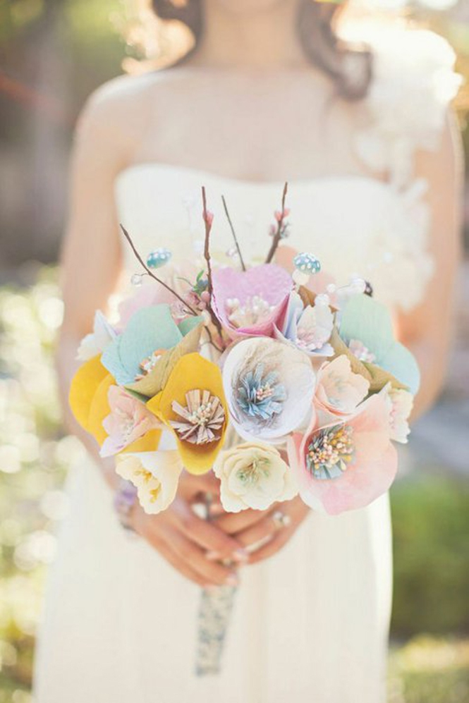 Colorful-paper bridal-bouquet