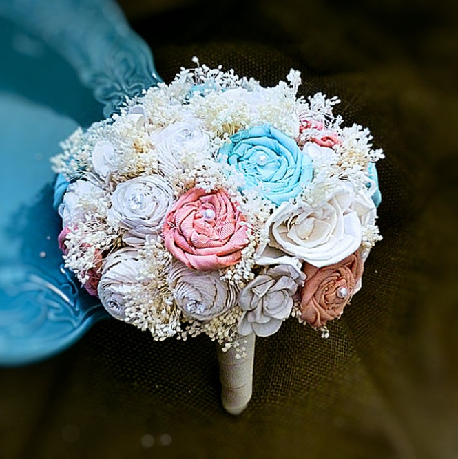 Fabric-pastel shades-bouquet
