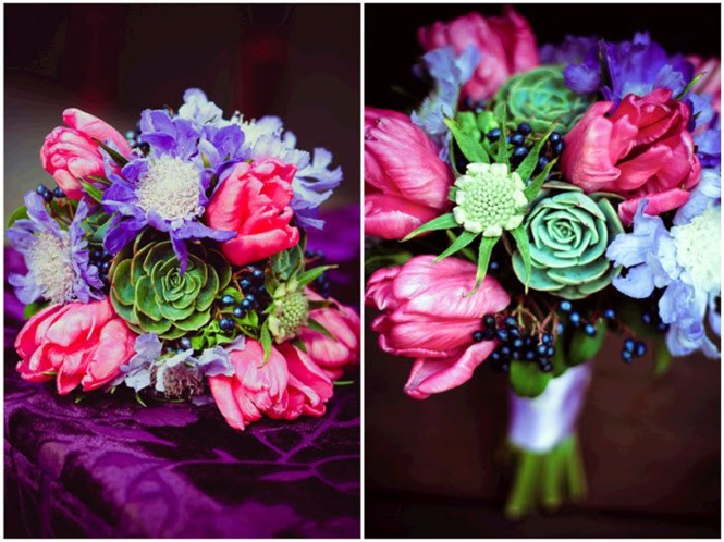 Modern-california-wedding-hot-pink-purple-wedding-flowers-with-green-succulents