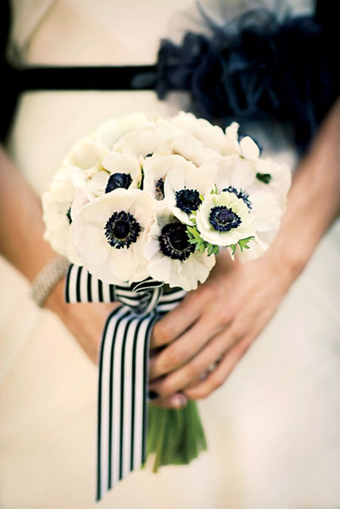 Modern wedding white anemone bridal bouquet