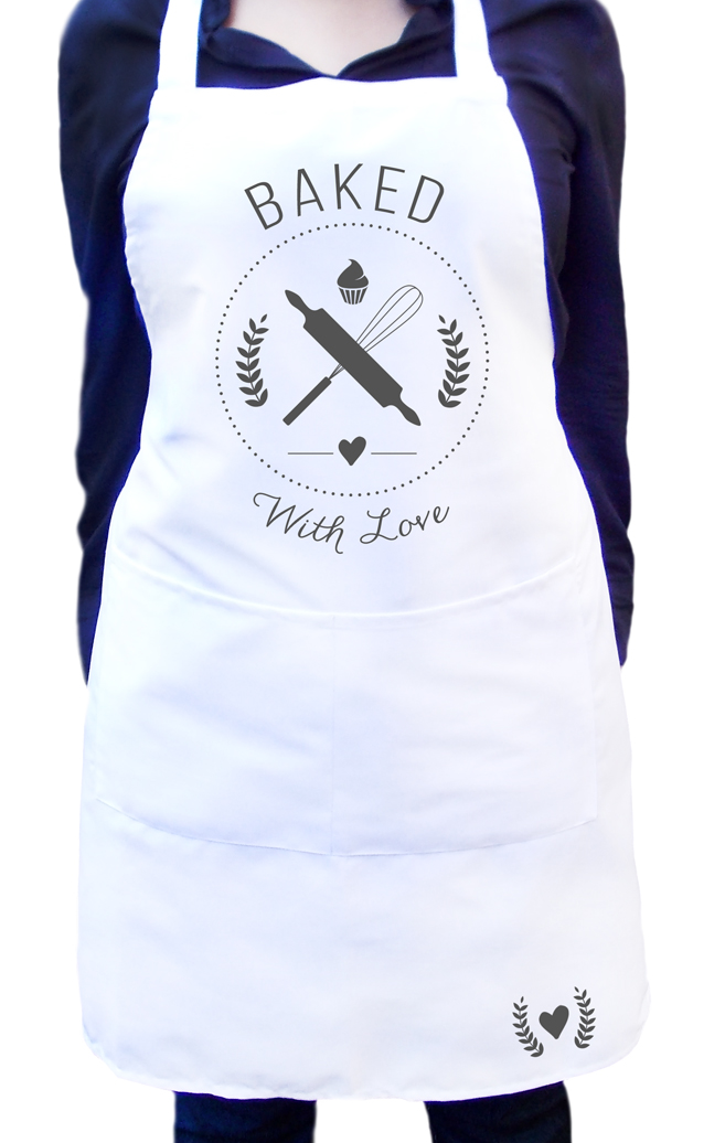 Ladies custom white kitchen apron